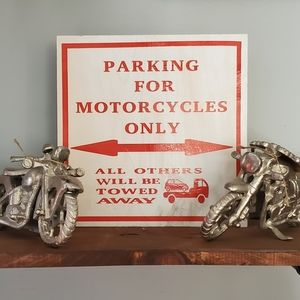 Hand Crafted   Parking for Motorcycles ONLY Sign